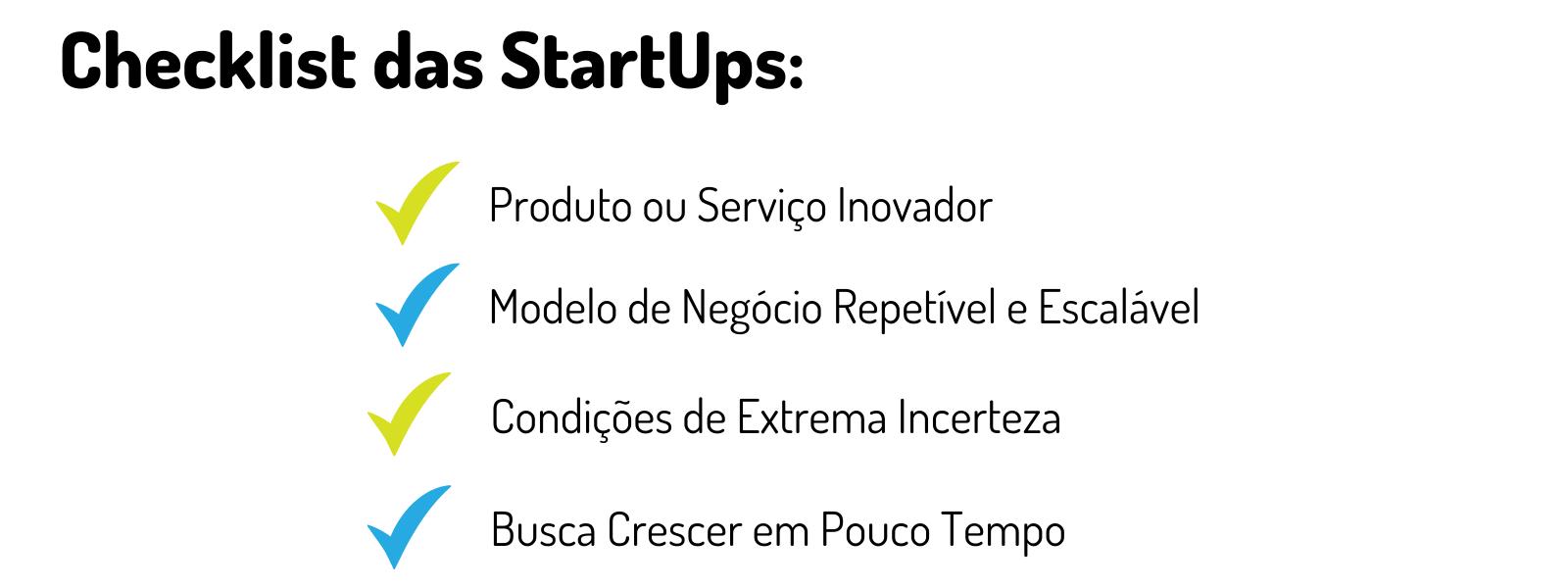 Infográfico Checklist das StartUps